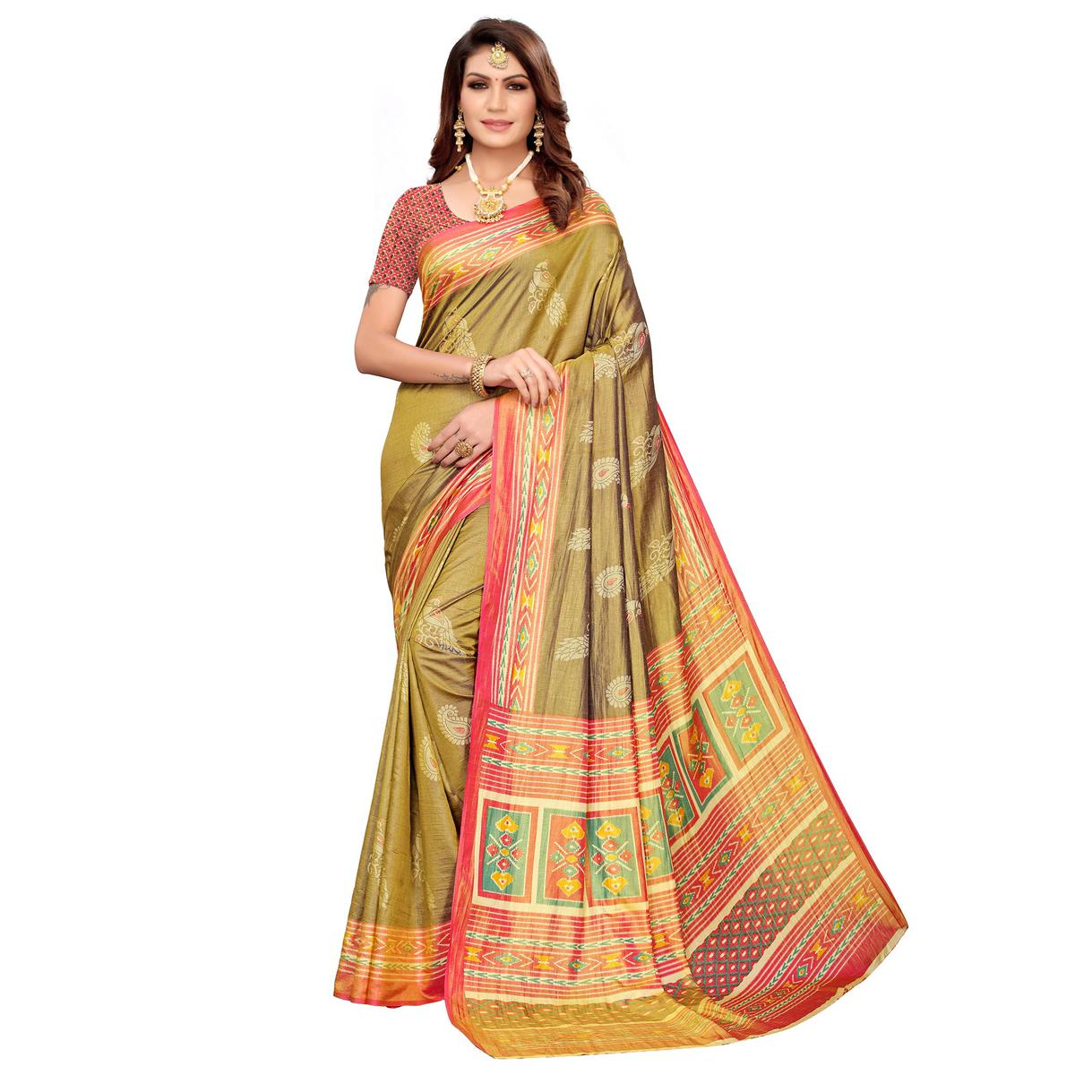 Staring Olive Green Colored Casual Printed Art Silk Saree