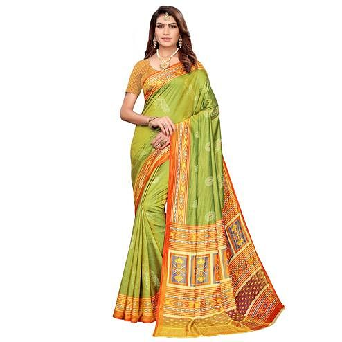 Dazzling Green Colored Casual Printed Art Silk Saree