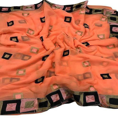 Trendy Peach Colored Partywear Embroidered Chiffon Saree