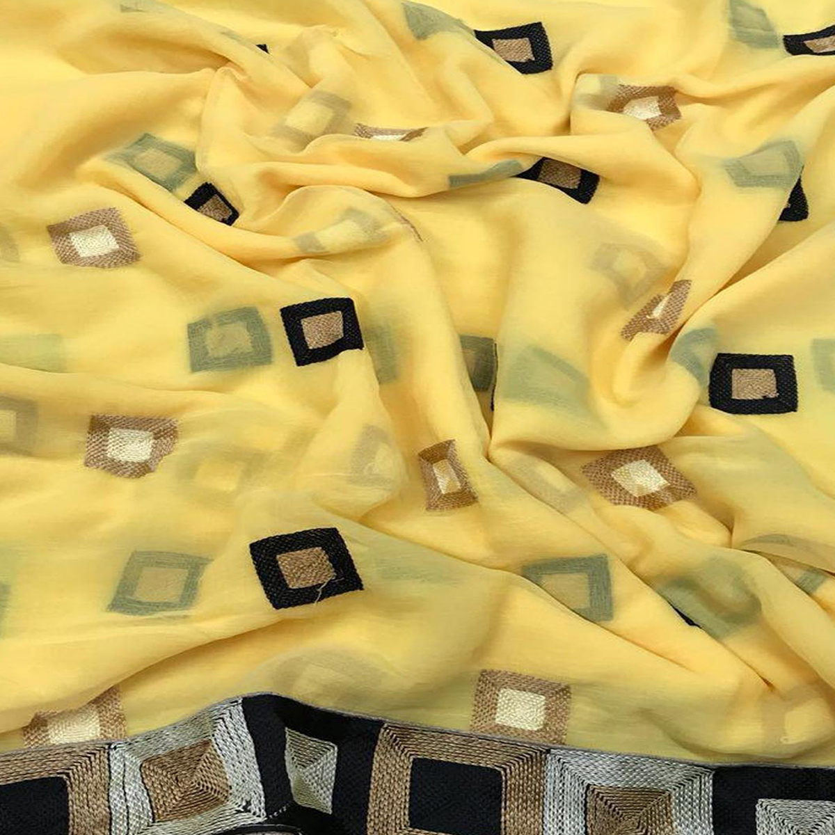 Glowing Yellow Colored Partywear Embroidered Chiffon Saree