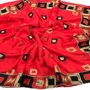 Stunning Red Colored Partywear Embroidered Chiffon Saree