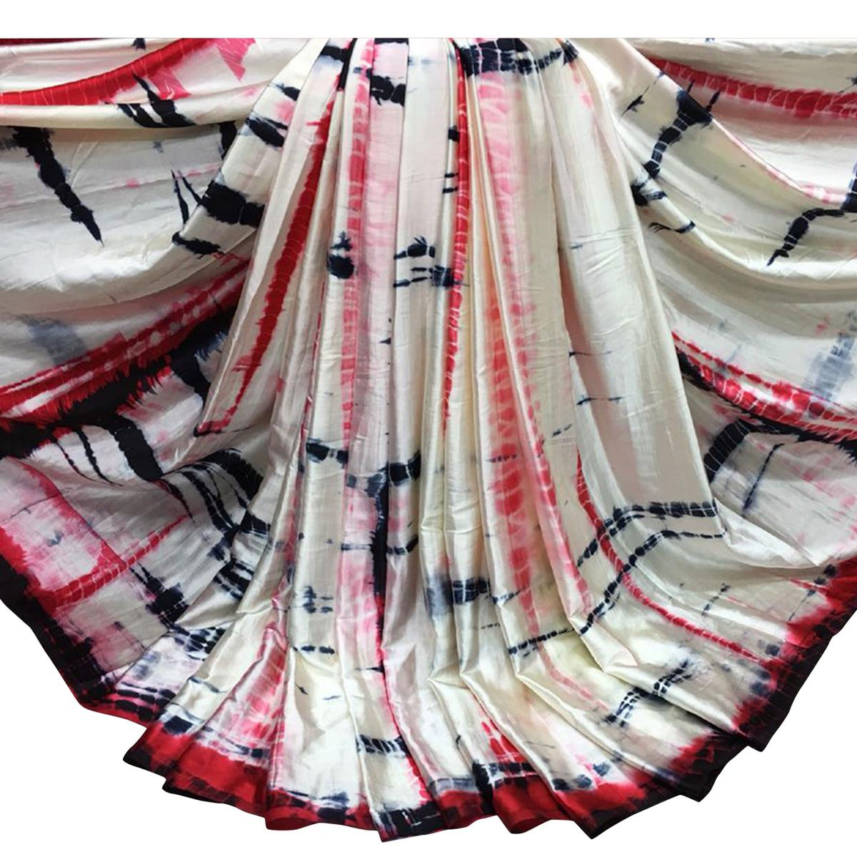 Desiring Red Colored Casual Wear Shibori Printed Satin Saree