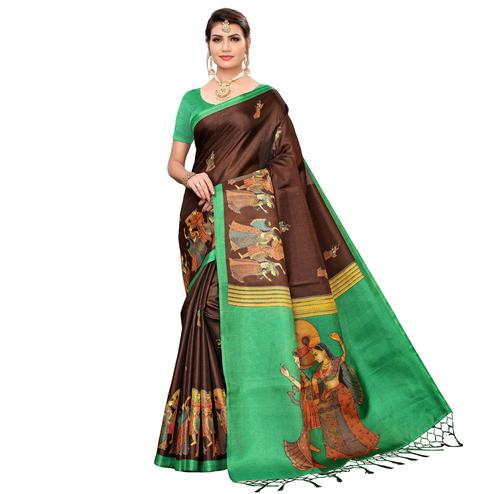 Gleaming Brown Colored Festive Wear Khadi Silk Saree