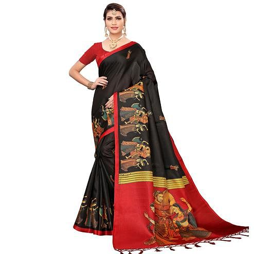 Mesmeric Black Colored Festive Wear Khadi Silk Saree