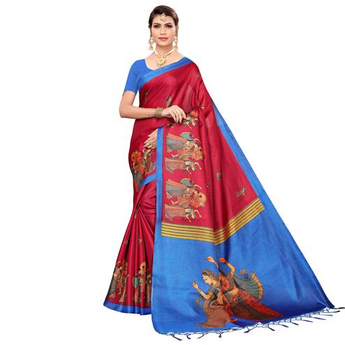 Demanding Red Colored Festive Wear Khadi Silk Saree