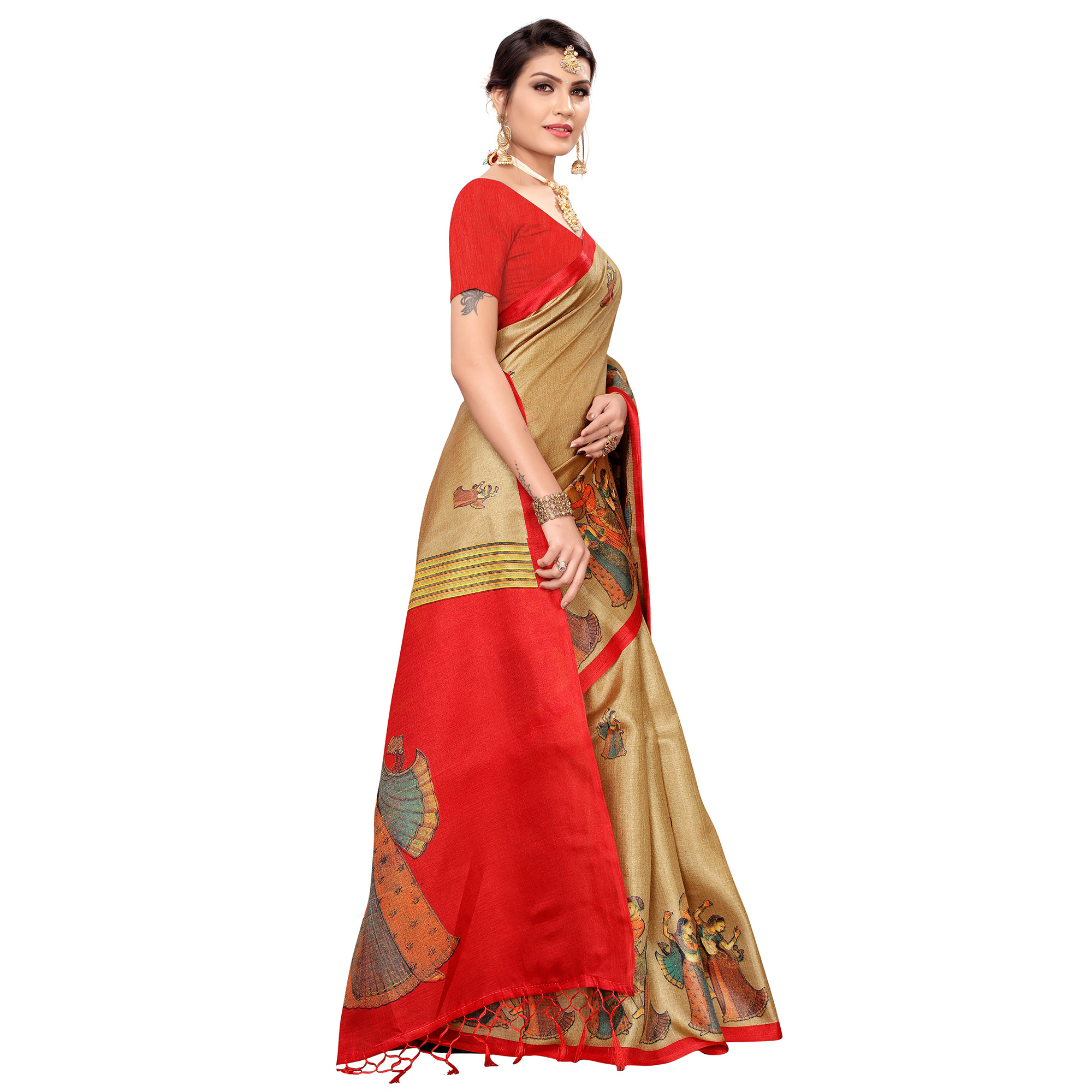 Refreshing Beige Colored Festive Wear Khadi Silk Saree