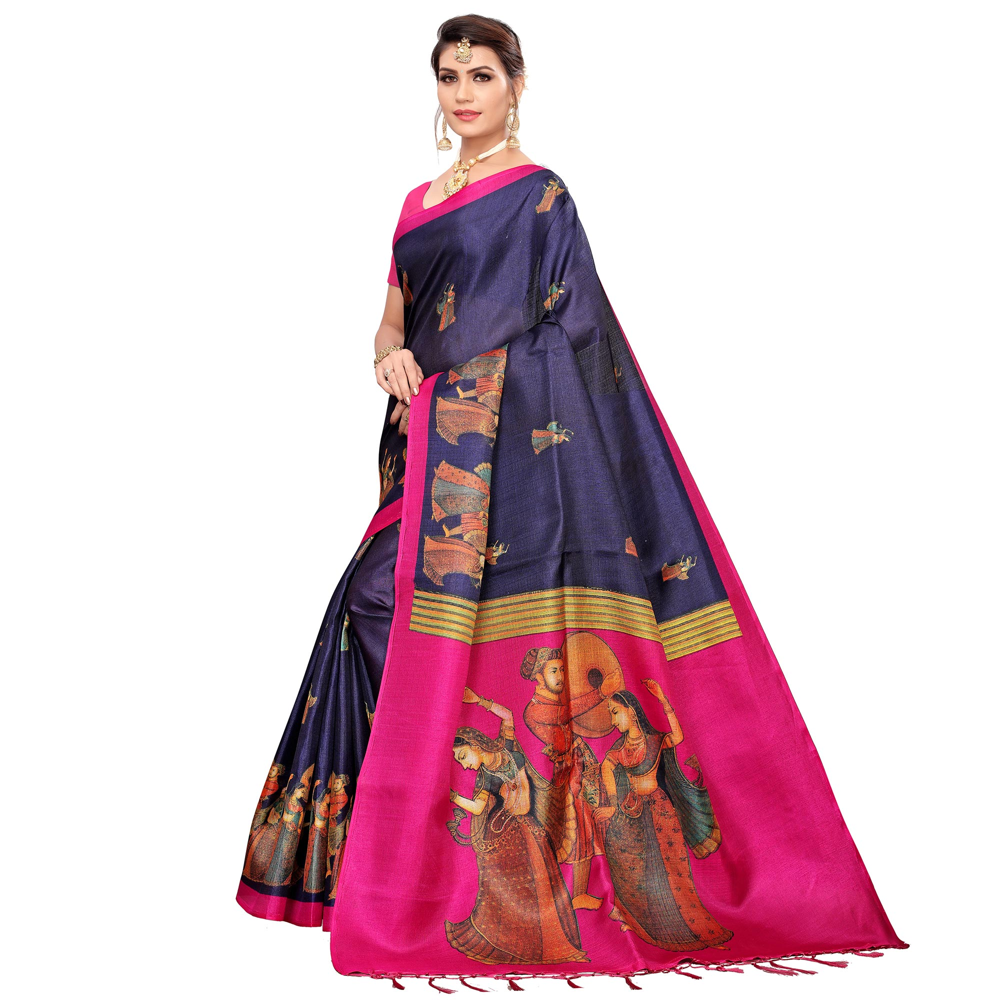 Magnetic Navy Blue Colored Festive Wear Khadi Silk Saree