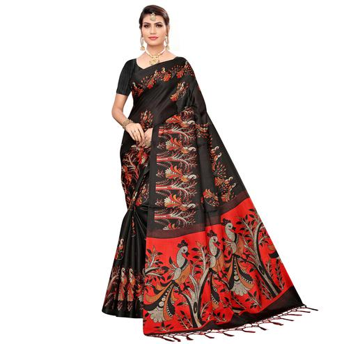 Hypnotic Black Colored Festive Wear Khadi Silk Saree