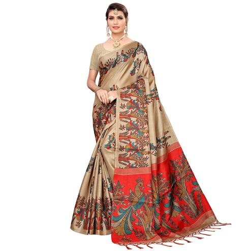 Flattering Beige Colored Festive Wear Khadi Silk Saree