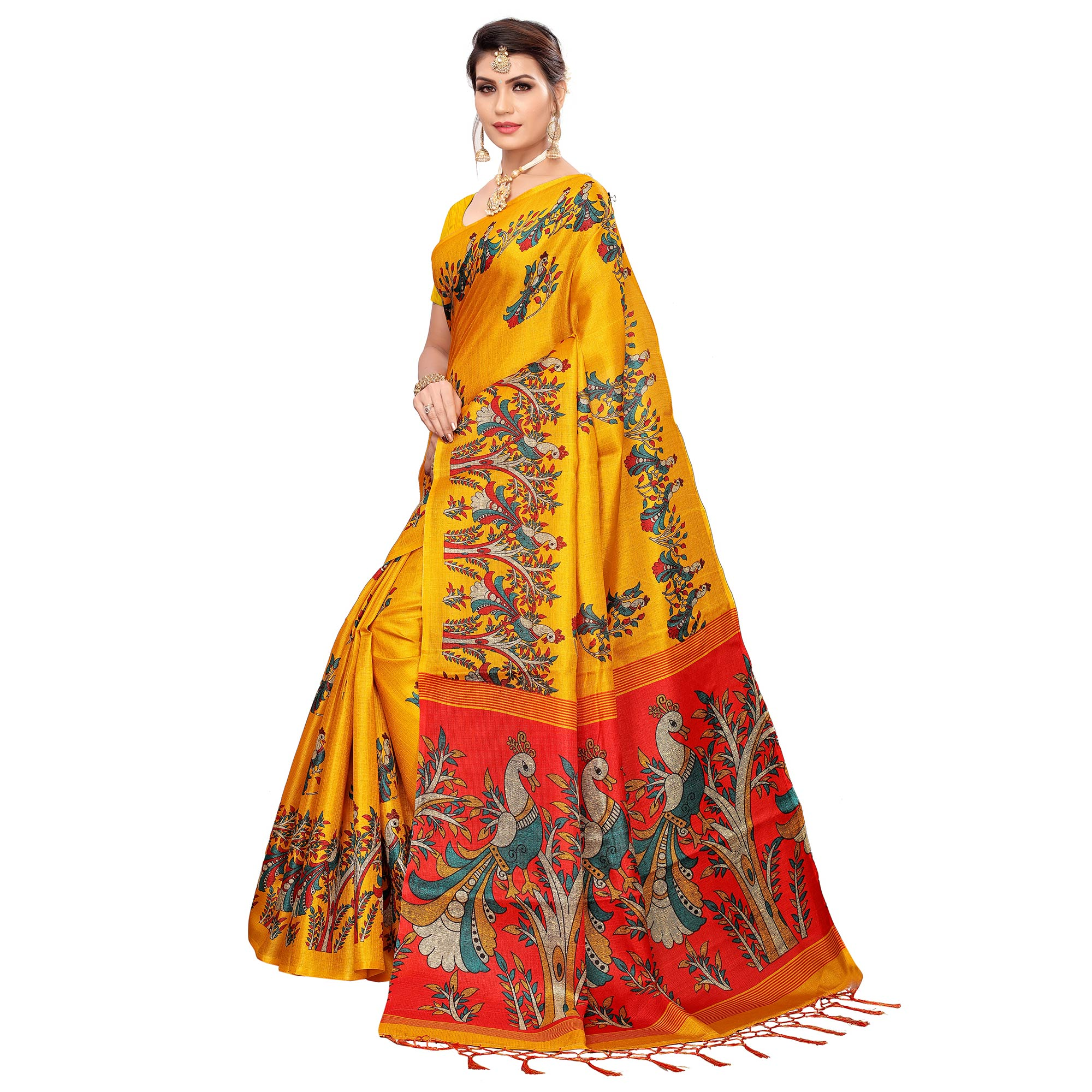 Excellent Yellow Colored Festive Wear Khadi Silk Saree