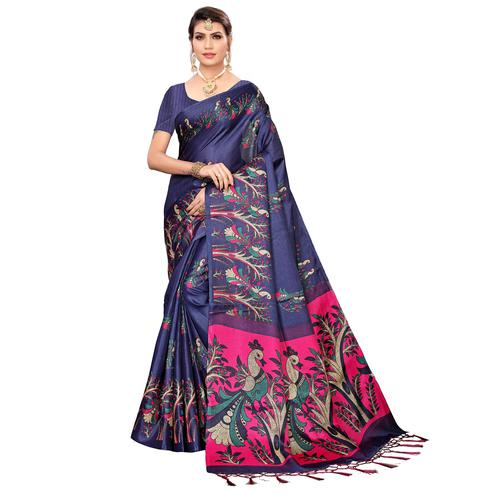 Preferable Navy Blue Colored Festive Wear Khadi Silk Saree