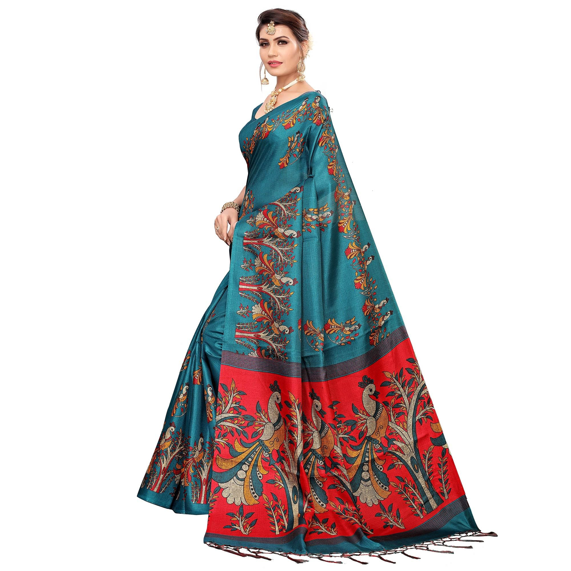 Marvellous Rama Blue Colored Festive Wear Khadi Silk Saree