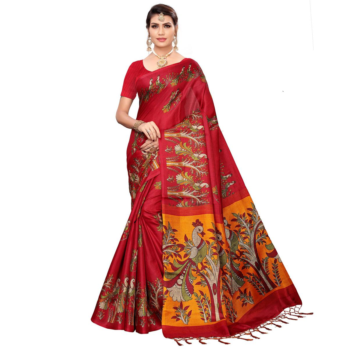 Flamboyant Red Colored Festive Wear Khadi Silk Saree
