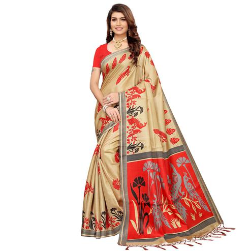 Pretty Beige-Red Colored Festive Wear Khadi Silk Saree