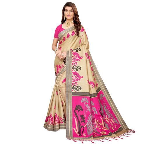 Alluring Beige-Pink Colored Festive Wear Khadi Silk Saree