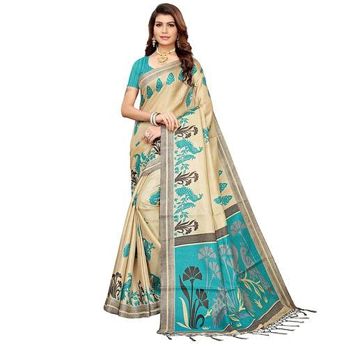 Sensational Beige-Blue Colored Festive Wear Khadi Silk Saree