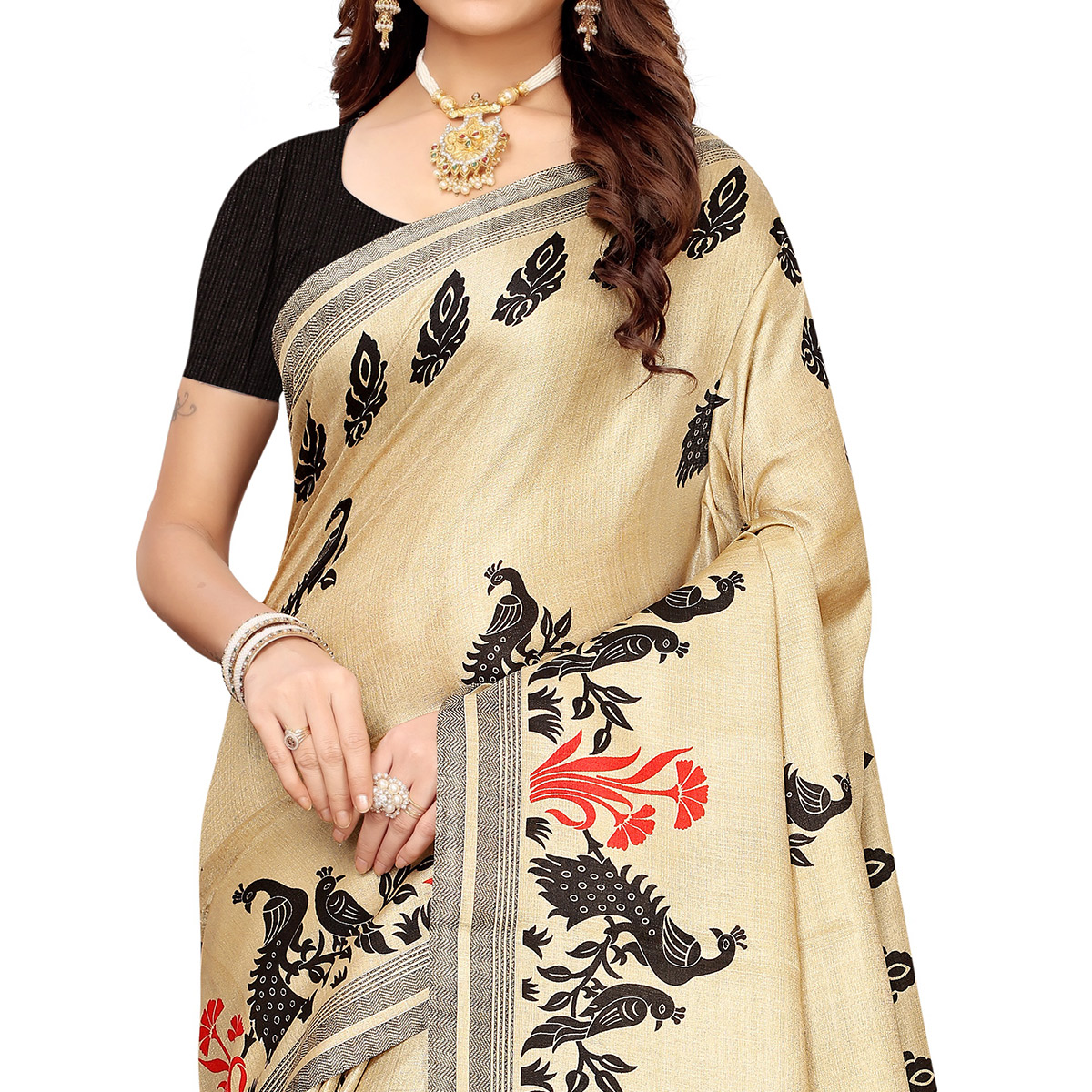 Flaunt Beige-Black Colored Festive Wear Khadi Silk Saree