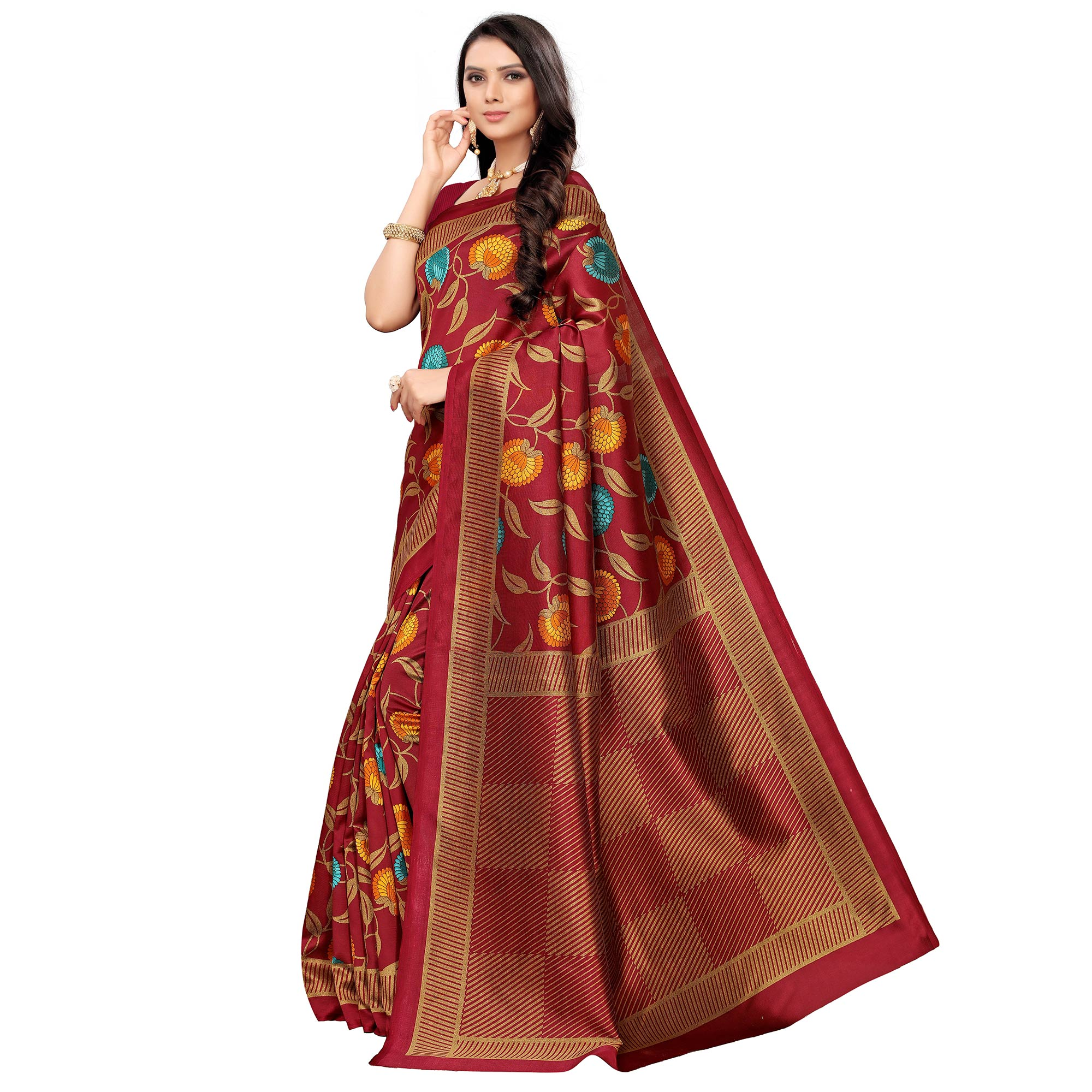 Glorious Maroon Colored Casual Printed Mysore Silk Saree