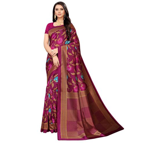 Attractive Magenta Pink Colored Casual Printed Mysore Silk Saree