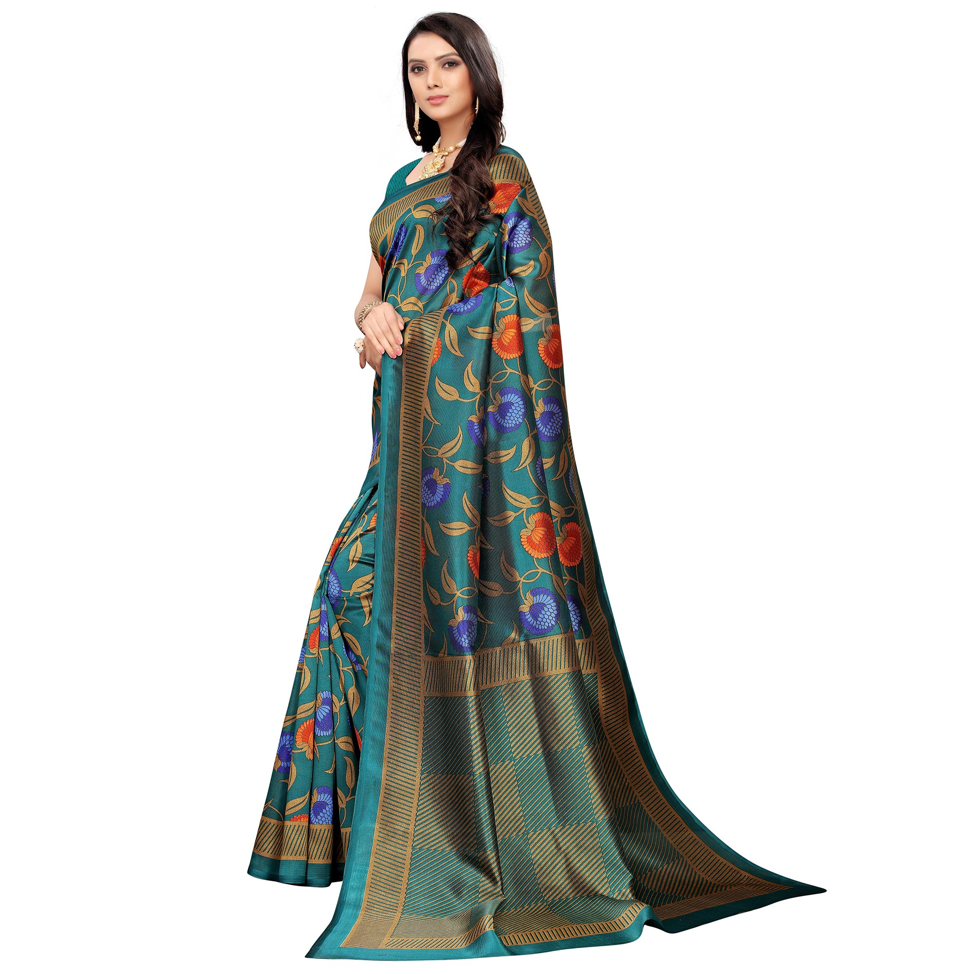 Beautiful Turquoise Green Colored Casual Printed Mysore Silk Saree