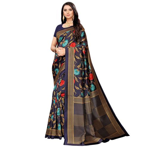 Graceful Navy Blue Colored Casual Printed Mysore Silk Saree