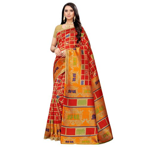 Blooming Red Colored Casual Printed Mysore Silk Saree