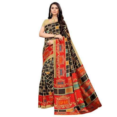 Charming Black Colored Casual Printed Mysore Silk Saree