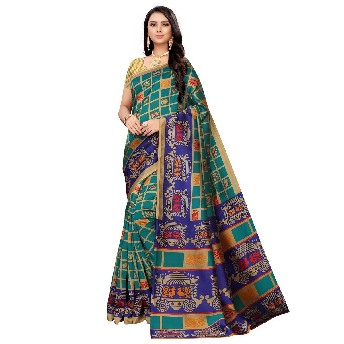 Jazzy Turquoise Green Colored Casual Printed Mysore Silk Saree