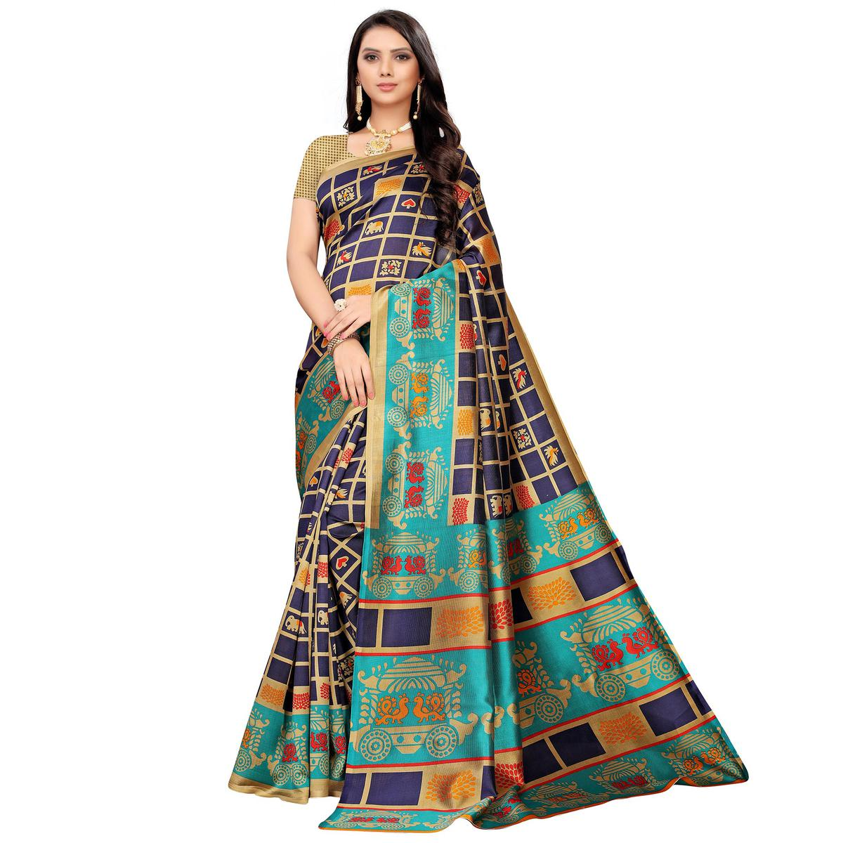 Delightful Navy Blue Colored Casual Printed Mysore Silk Saree