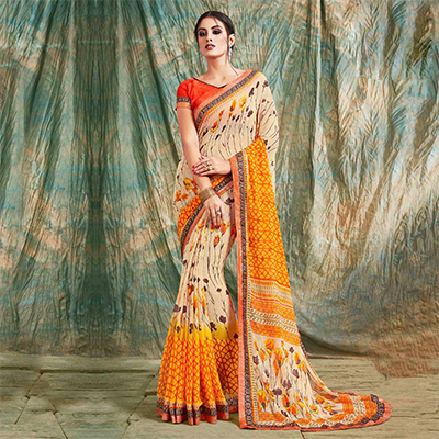 Orange - Beige Printed Georgette Saree