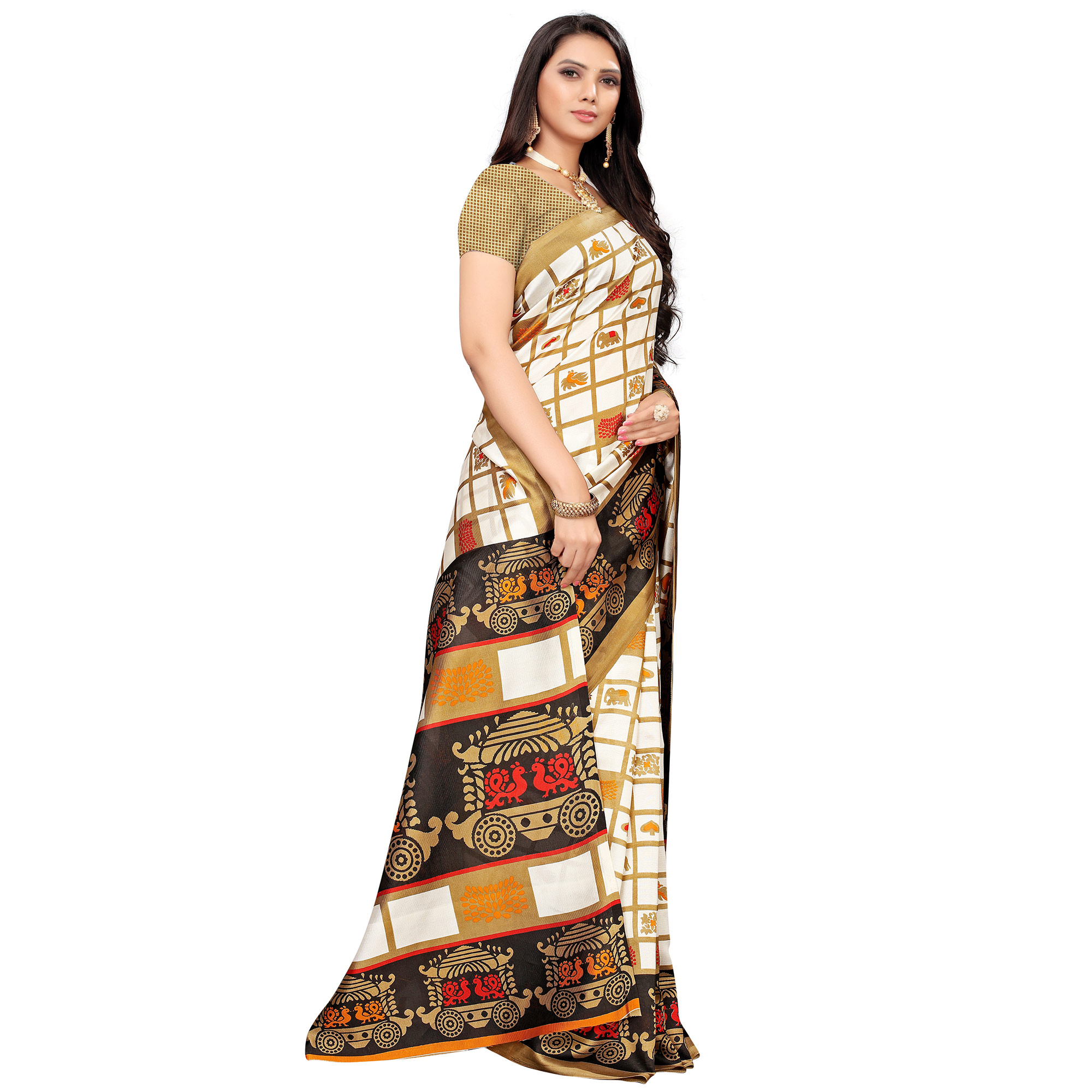 Engrossing Off White-Black Colored Casual Printed Mysore Silk Saree