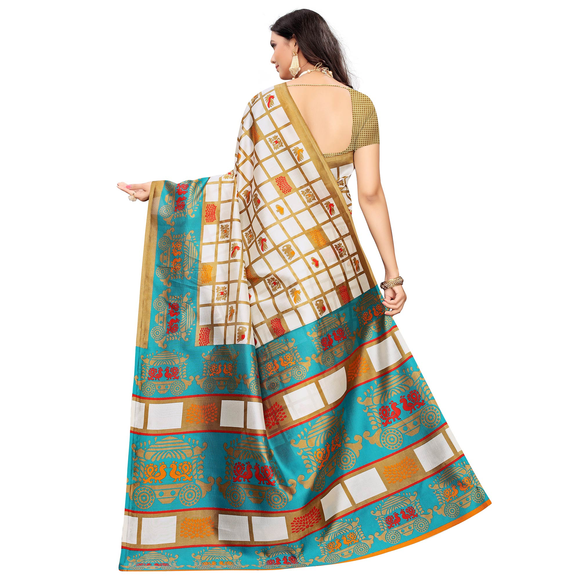 Captivating Off White-Blue Colored Casual Printed Mysore Silk Saree