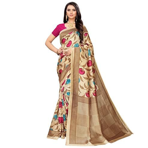 Innovative Beige-Pink Colored Casual Printed Mysore Silk Saree