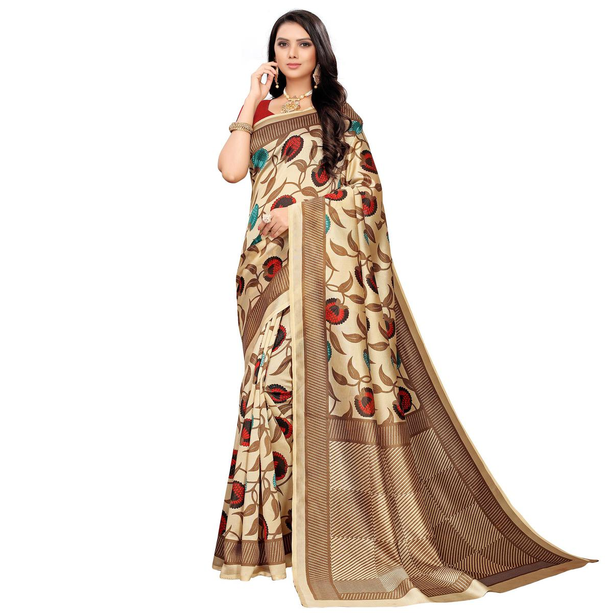 Eye-catching Beige-Red Colored Casual Printed Mysore Silk Saree