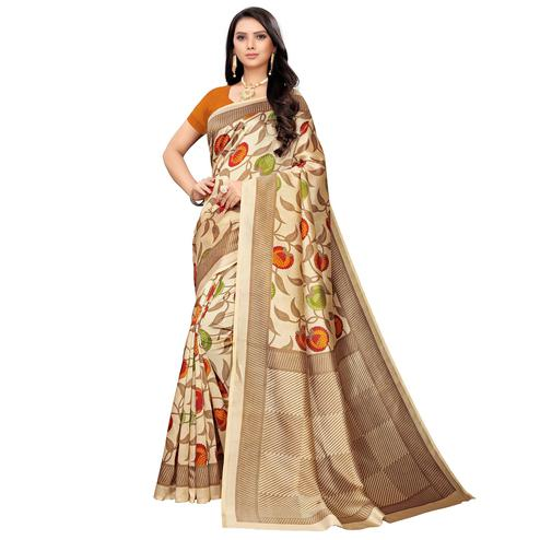 Fantastic Beige-Orange Colored Casual Printed Mysore Silk Saree