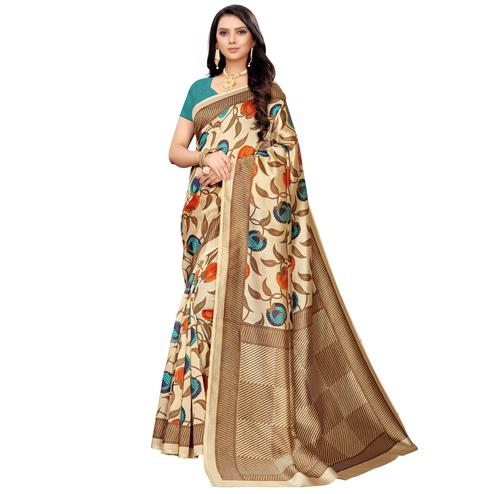 Amazing Beige-Blue Colored Casual Printed Mysore Silk Saree