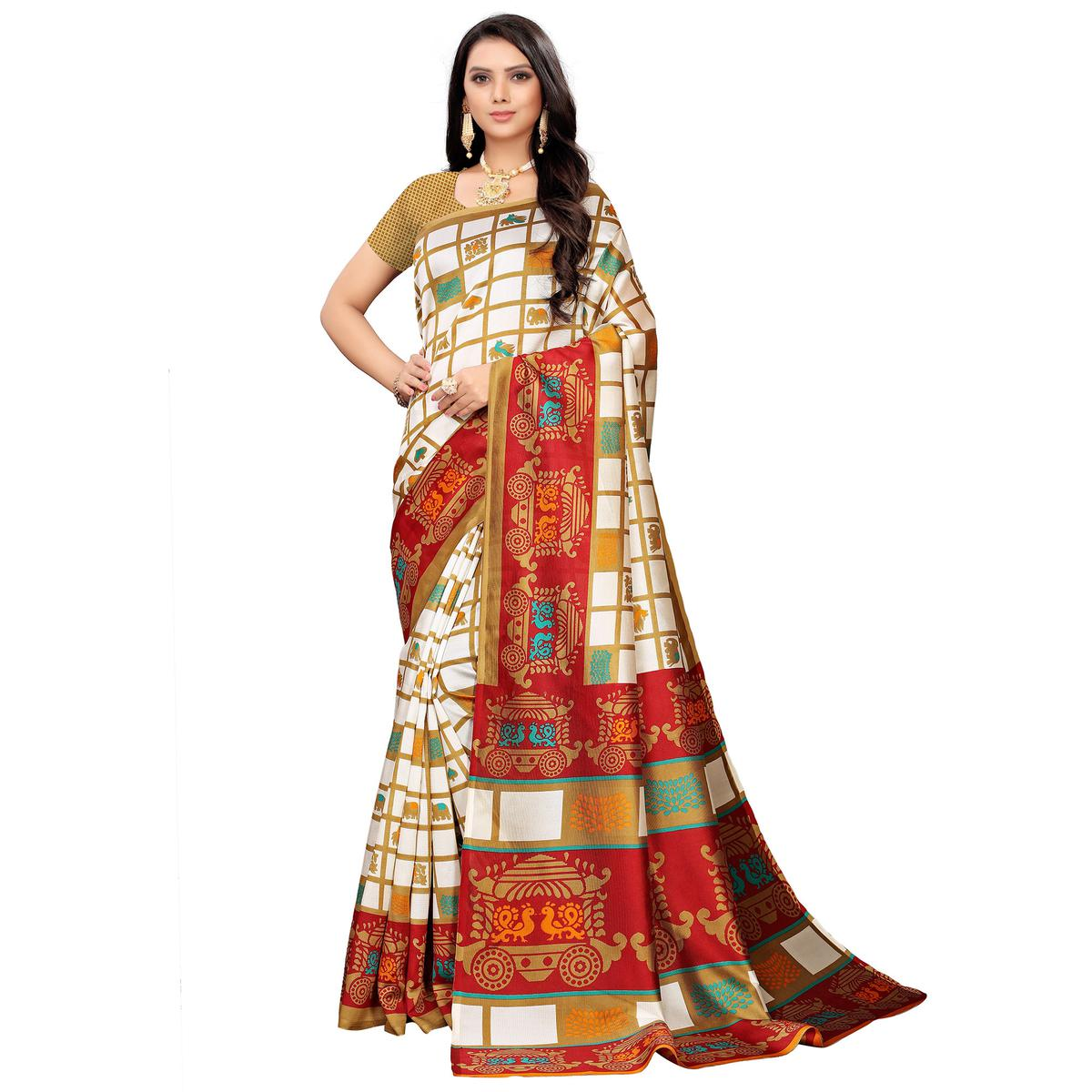 Gorgeous White-Red Colored Casual Printed Mysore Silk Saree