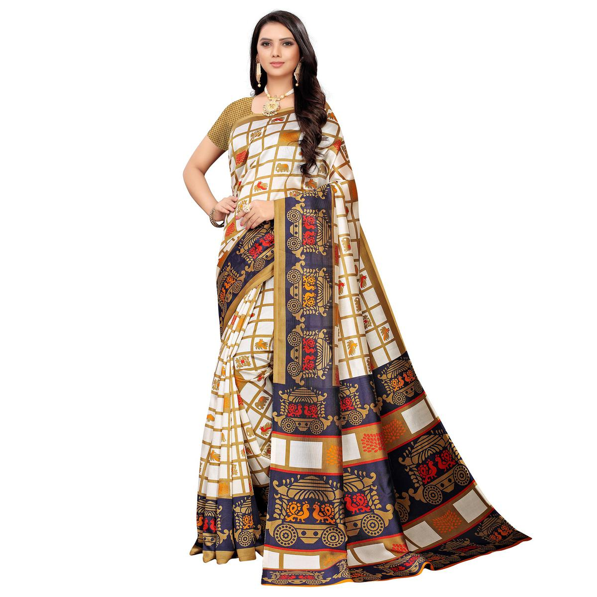 Blissful White-Navy Blue Colored Casual Printed Mysore Silk Saree