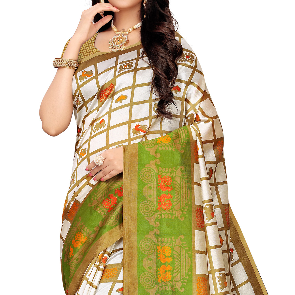 Ideal White-Green Colored Casual Printed Mysore Silk Saree