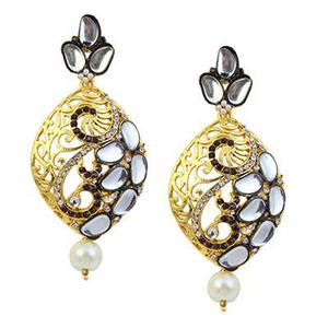 Kundan Austrian Stone Black Meenakari Pearl Drop Gold Finish Dangle Earrings