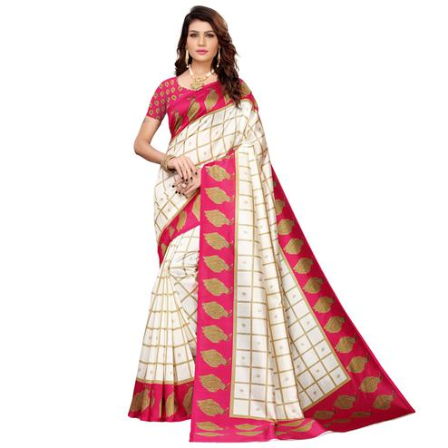 Ethnic Off White-Pink Colored Casual Printed Mysore Silk Saree