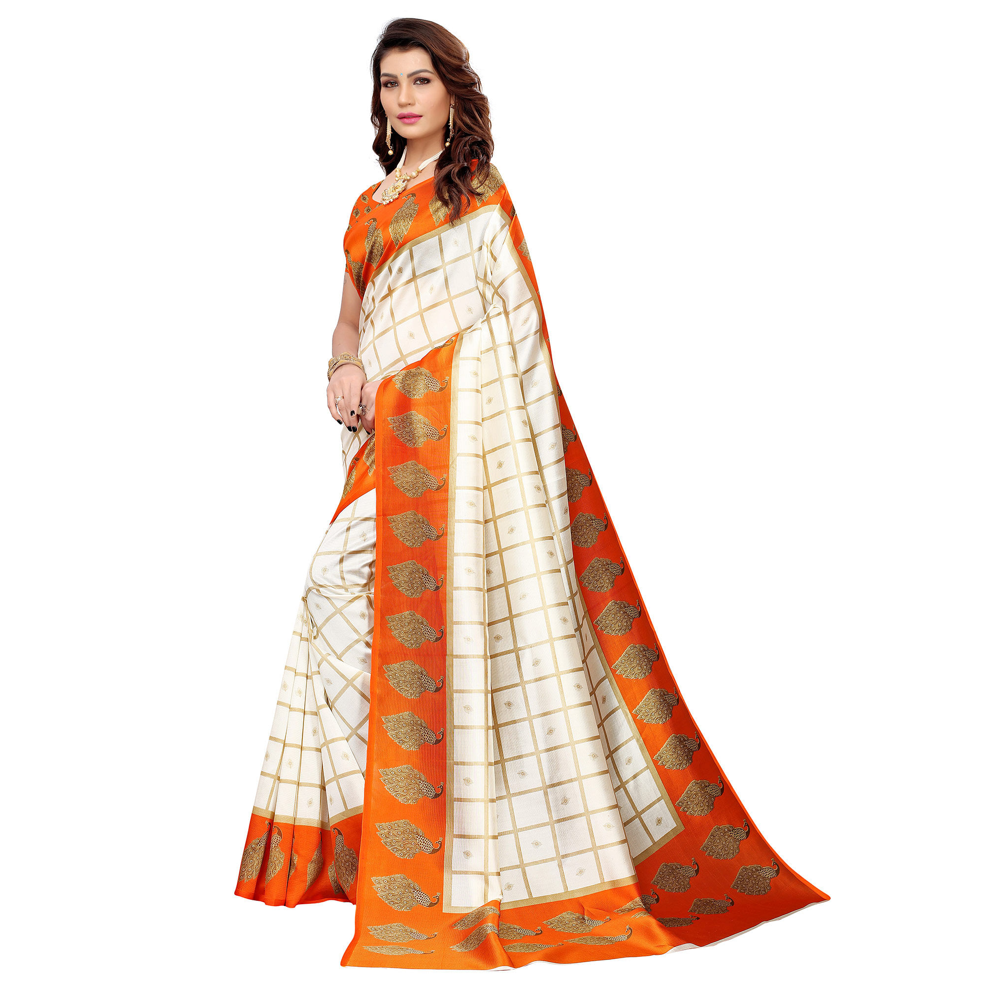 Ravishing Off White-Orange Colored Casual Printed Mysore Silk Saree