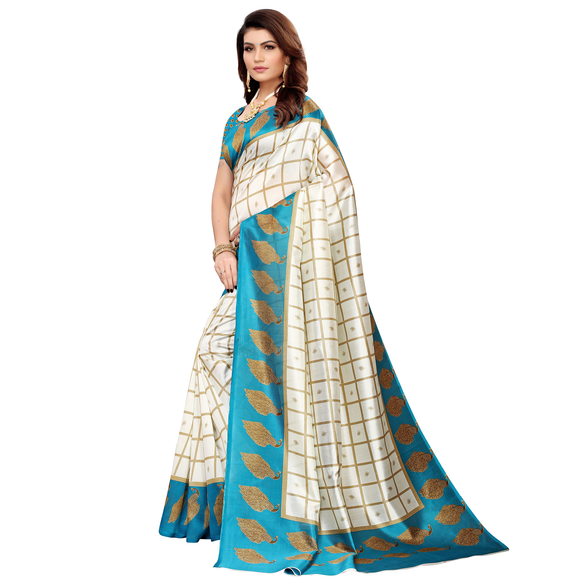 Dazzling Off White-Blue Colored Casual Printed Mysore Silk Saree