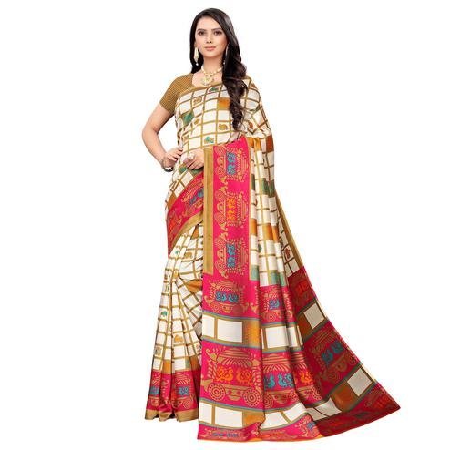 Imposing White-Pink Colored Casual Printed Mysore Silk Saree