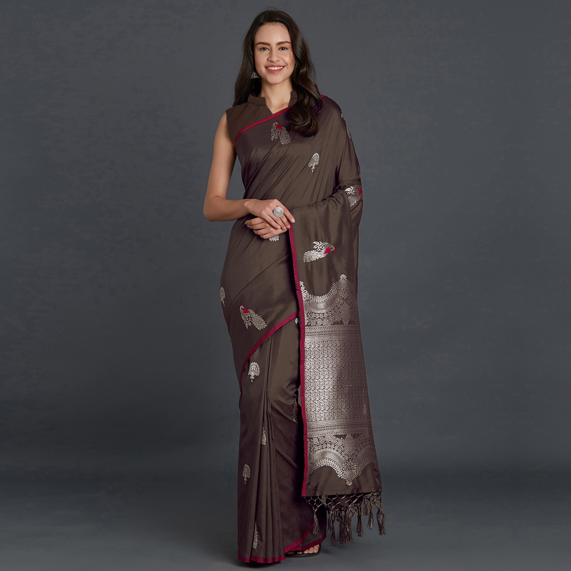 Eye-catching Brown Colored Festive Wear Printed Art Silk Saree