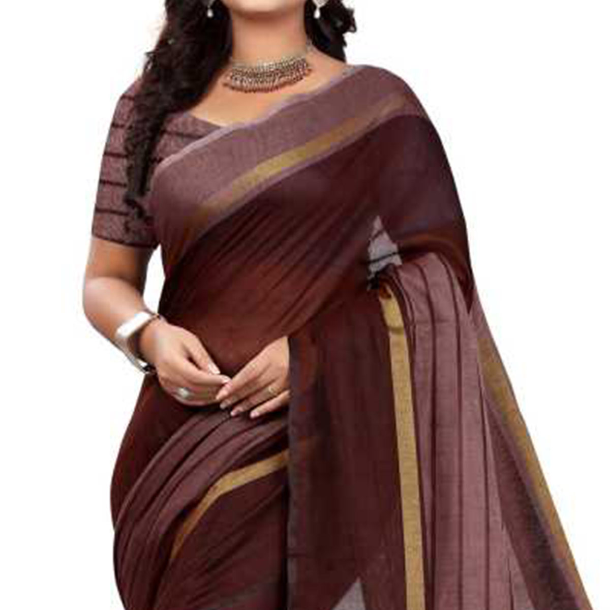 Blissful Brown Colored Festive Wear Chanderi Silk Saree