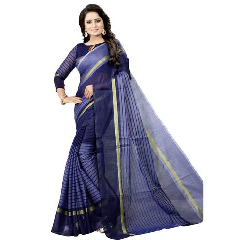 Ideal Navy Blue Colored Festive Wear Chanderi Silk Saree