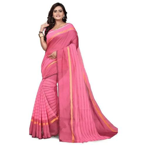 Imposing Pink Colored Festive Wear Chanderi Silk Saree