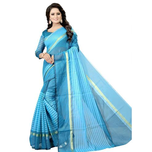 Lovely Sky Blue Colored Festive Wear Chanderi Silk Saree