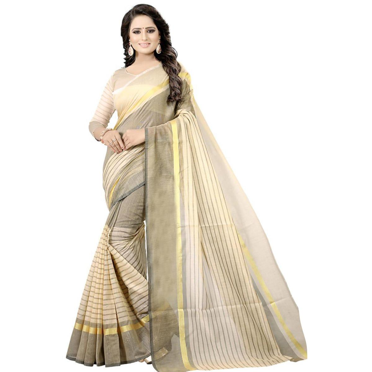 Majesty Cream Colored Festive Wear Chanderi Silk Saree